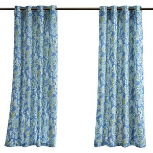 Perrysburg 3M Scotchgard Nature/Floral Room Darkening Outdoor Grommet Single Curtain Panel