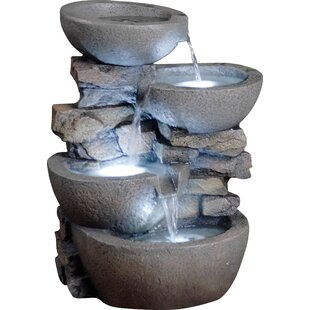 Resin Fibergl Tiered Modern Bowls Fountain With Led Light