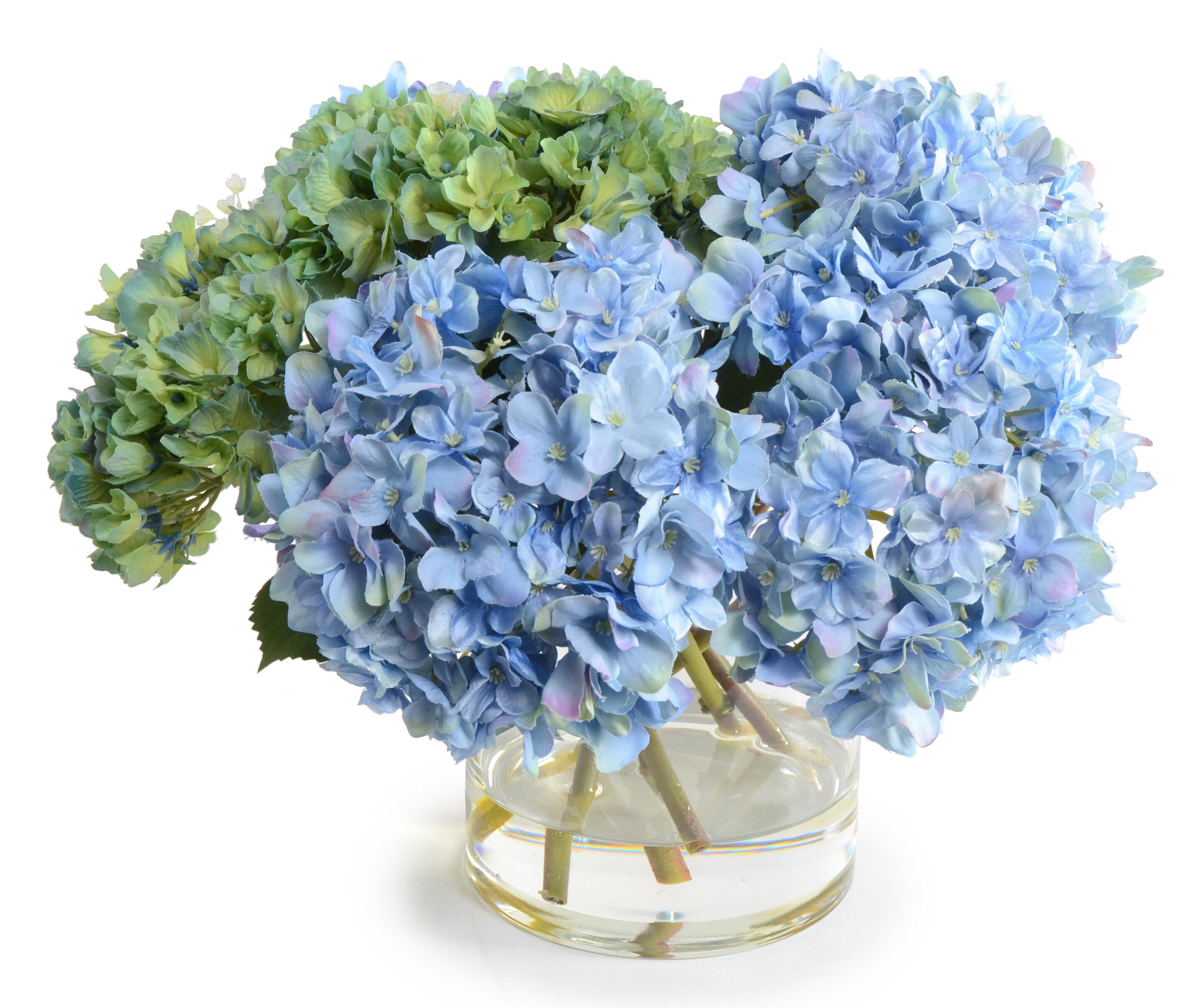 New Growth Designs Faux Hydrangea Floral Arrangement In Vase Wayfair