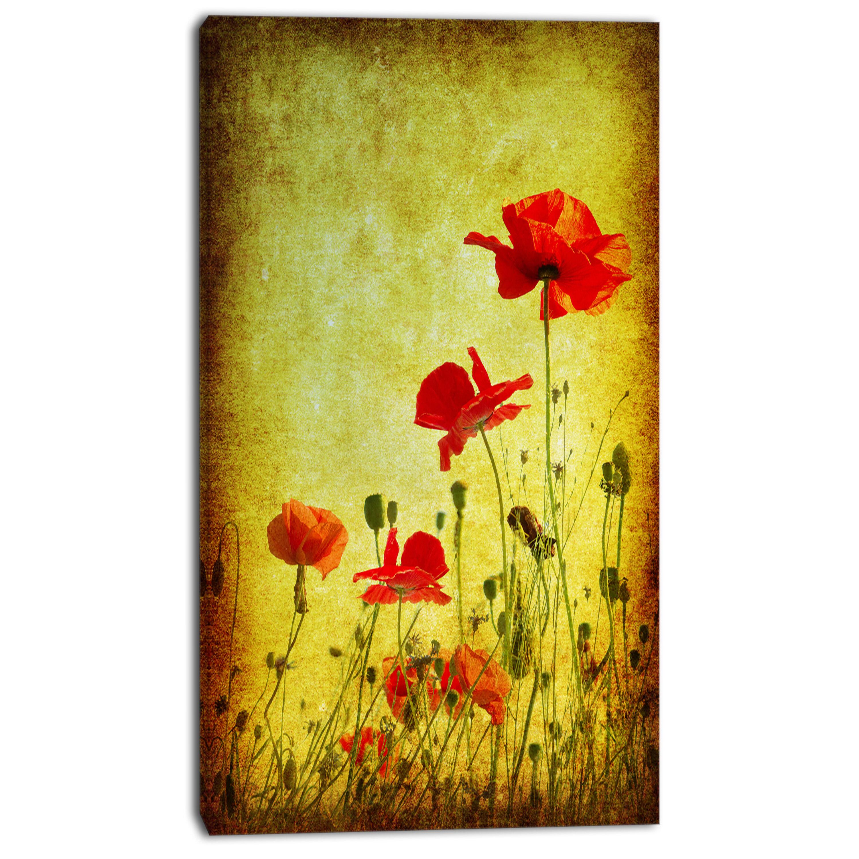 DesignArt \'Poppy Flowers on Grunge Background\' Graphic Art on ...