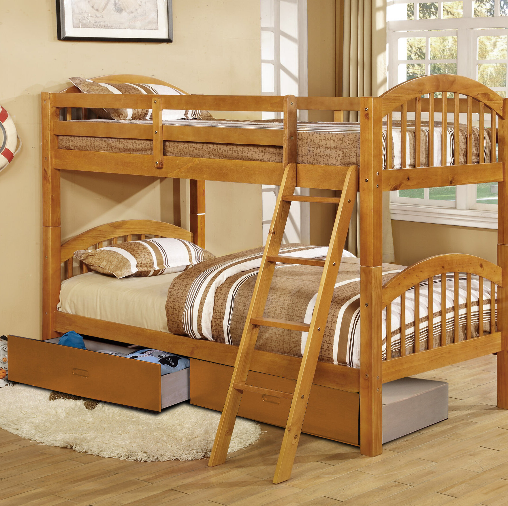 Harriet Bee Jaylyn Twin Over Twin Bunk Bed With Drawers