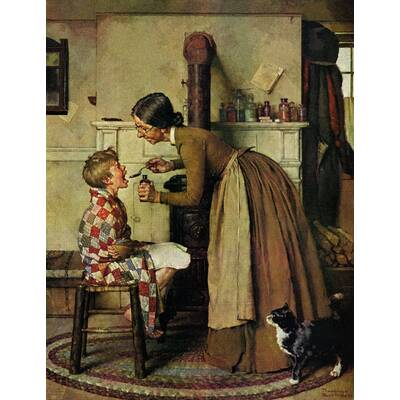 Take Your Medicine By Norman Rockwell Painting Print On Wred Canvas