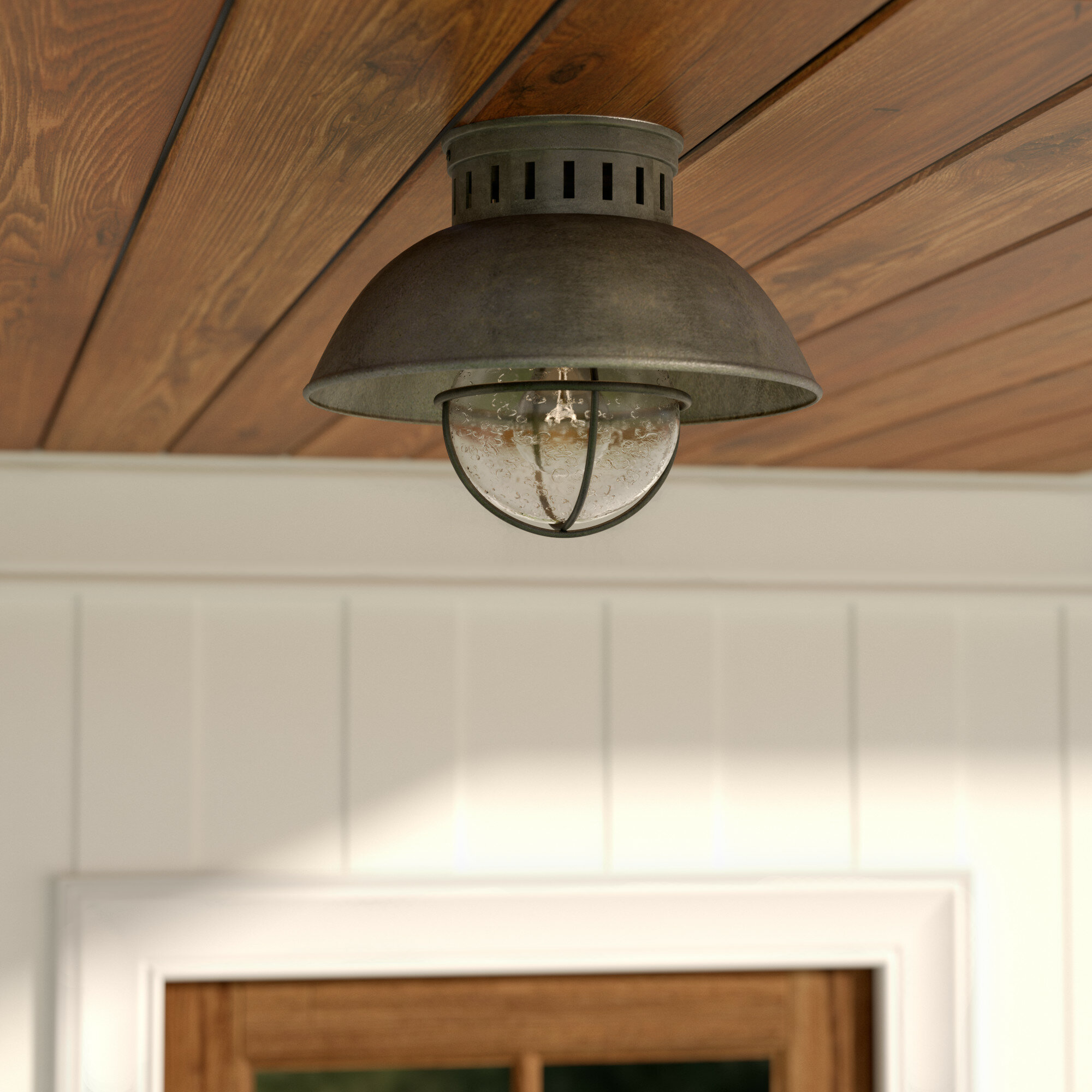 Beachcrest Home Archibald 1-Light Outdoor Semi Flush Mount & Reviews ...
