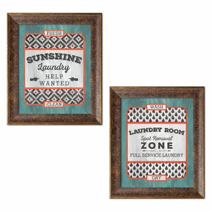 Fun Modern Laundry Signs Sunshine Help Wanted And Room Full Service Framed Graphic Art Print Set Of 2