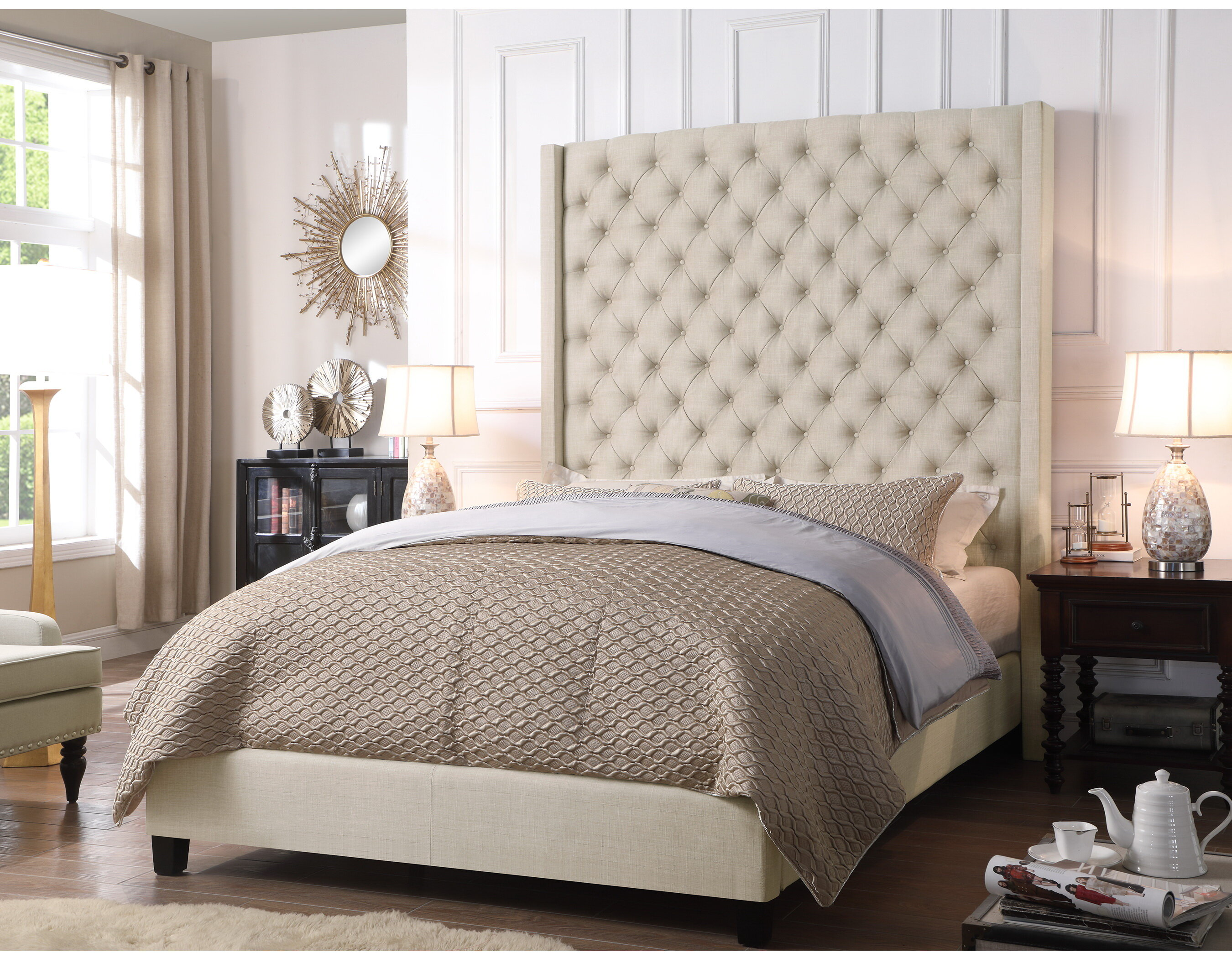 Superieur Antonio Wingback Tufted High Headboard Upholstered Standard Bed