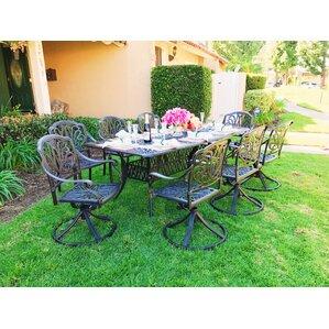 Nina Rectangular 9 Piece Dining Set With Cushions