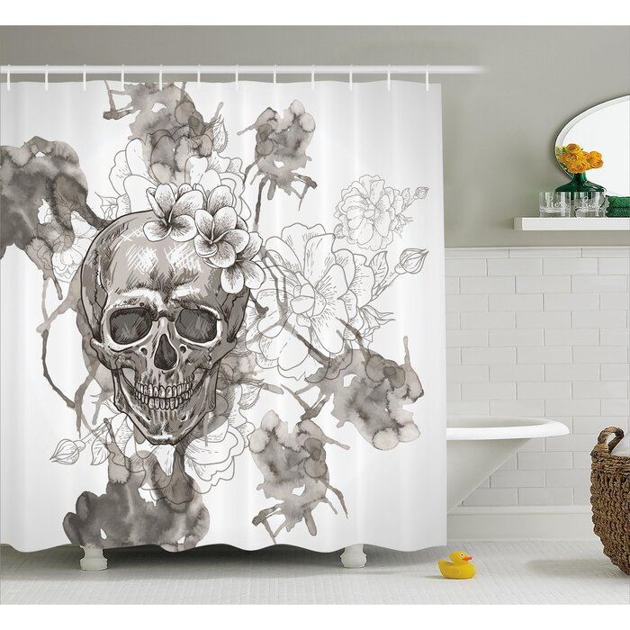 Ebern Designs Doreen Day Of The Dead Painting Skull Flowers Dia De Los Muertos Festive Decor Print Single Shower Curtain