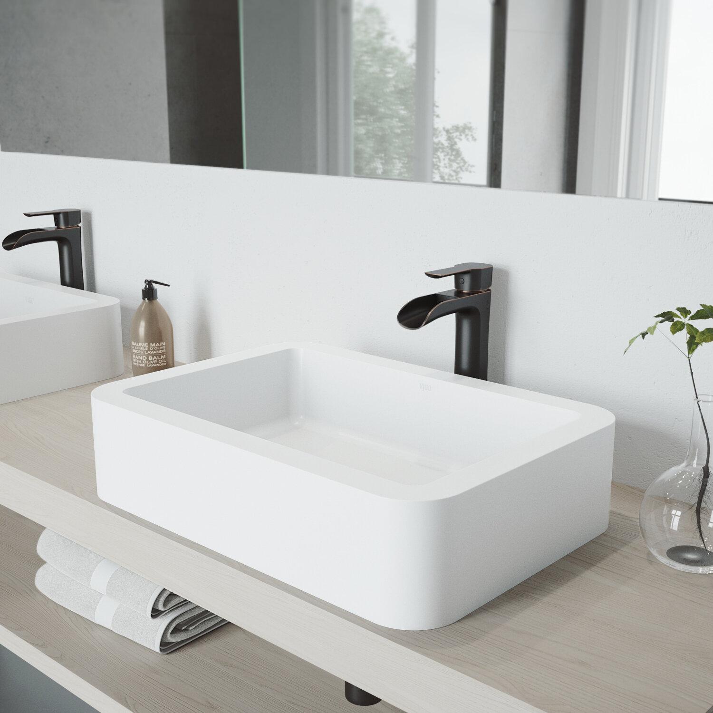 VIGO VIGO Matte Stone Rectangular Vessel Bathroom Sink with Faucet ...