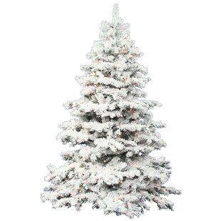 flocked alaskan 45 white artificial christmas tree with 300 led multi colored lights