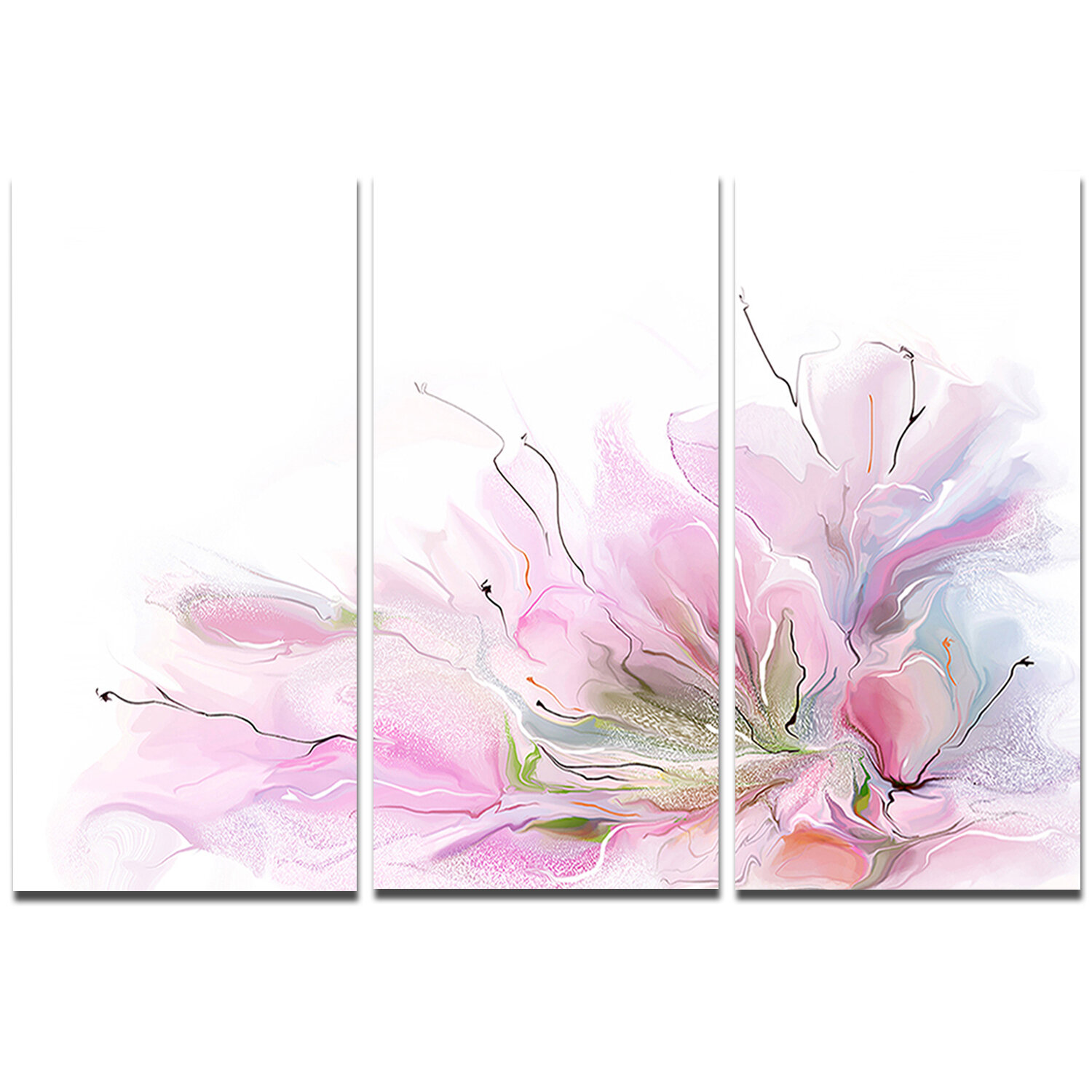 Designart Lovely Pink Flowers 3 Piece Painting Print On Wrapped