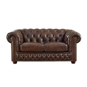 Worcester Leather Chesterfield Loveseat by T..