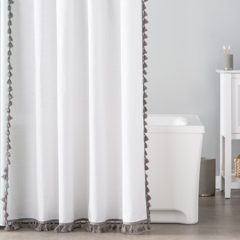 The Twillery Co. Everardo 100% Cotton Tassel Shower Curtain ...