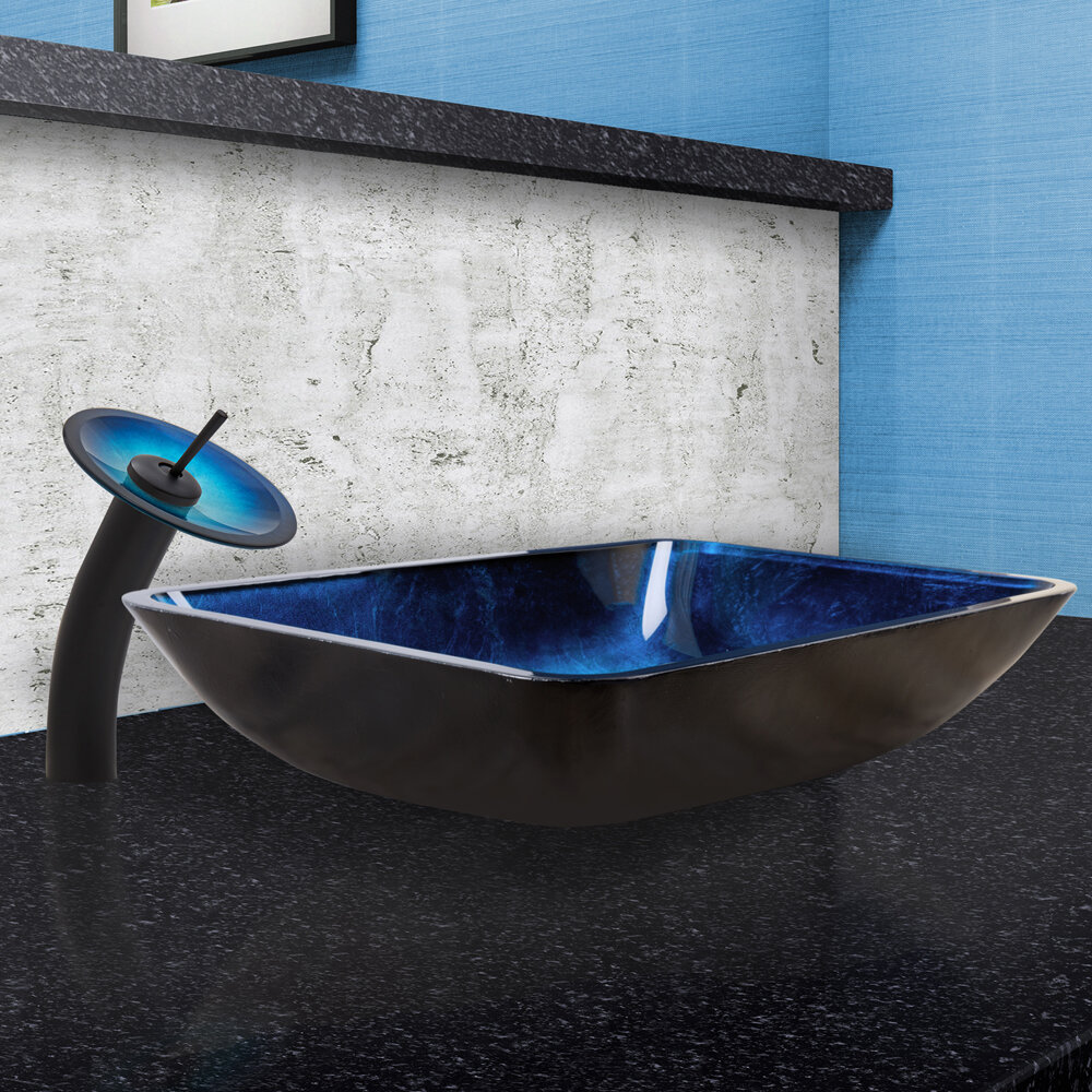 VIGO Turquoise Water Glass Rectangular Vessel Bathroom Sink with ...