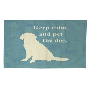 Keep Calm and Pet the Dog Teal Area Rug