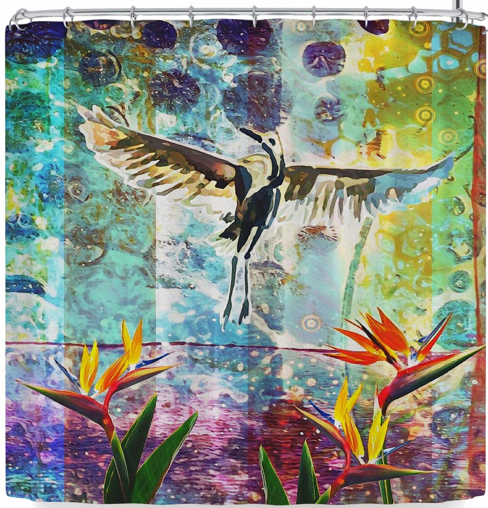 East Urban Home Alyzen Moonshadow Birds Of Paradise With Stork Shower Curtain