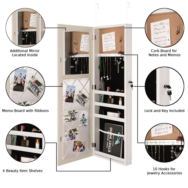 Rieves Over the Door Makeup Storage Jewelry Armoire with Mirror  sc 1 st  Wayfair & Latitude Run Rieves Over the Door Makeup Storage Jewelry Armoire ...