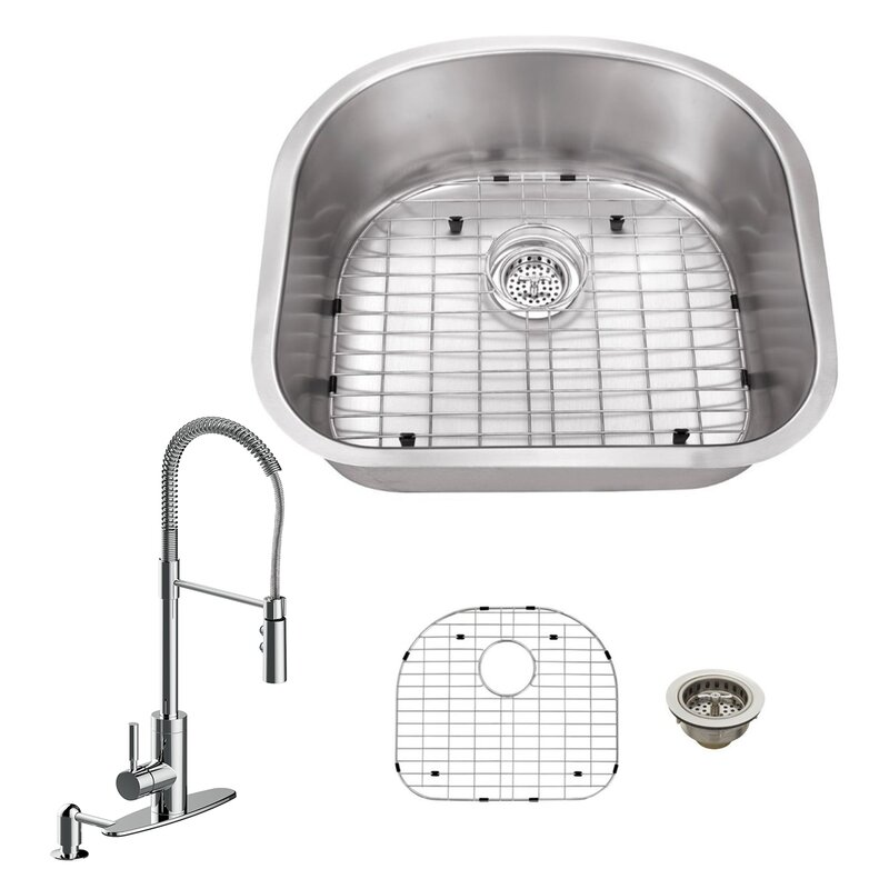 18 Gauge Stainless Steel 23 25 L X 20 88 W Undermount Kitchen Sink With Pull