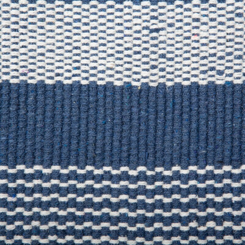 Gant Recycled Yarn French Cabana Stripe Flatweave Cotton Blue Area Rug