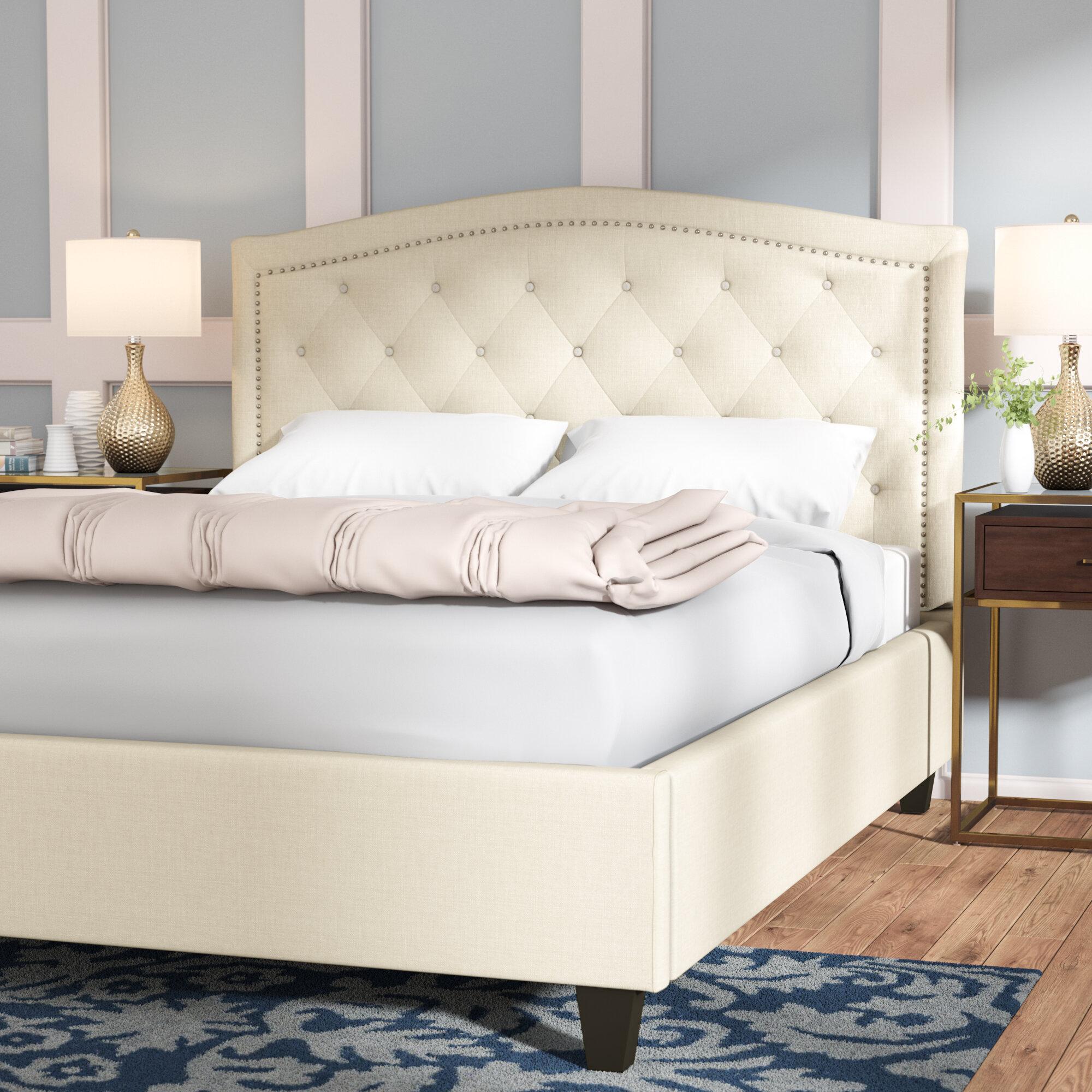 Alcott Hill Farrah Tufted Linen Upholstered Platform Bed U0026 Reviews | Wayfair