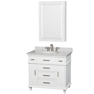 Berkeley 34 Single White Bathroom Vanity Set with Medicine Cabinet