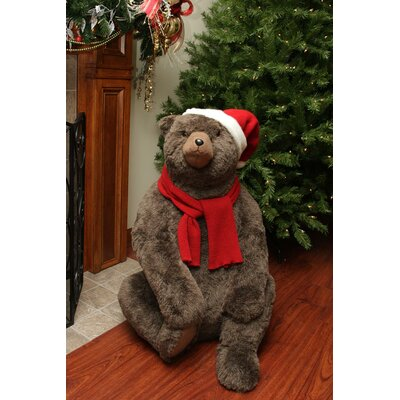 Sitting Plush Bear Christmas Decoration Wearing Hat and Scarf