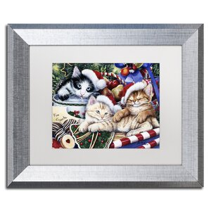 'Meowy Christmas 2' by Jenny Newland Framed Graphic Art