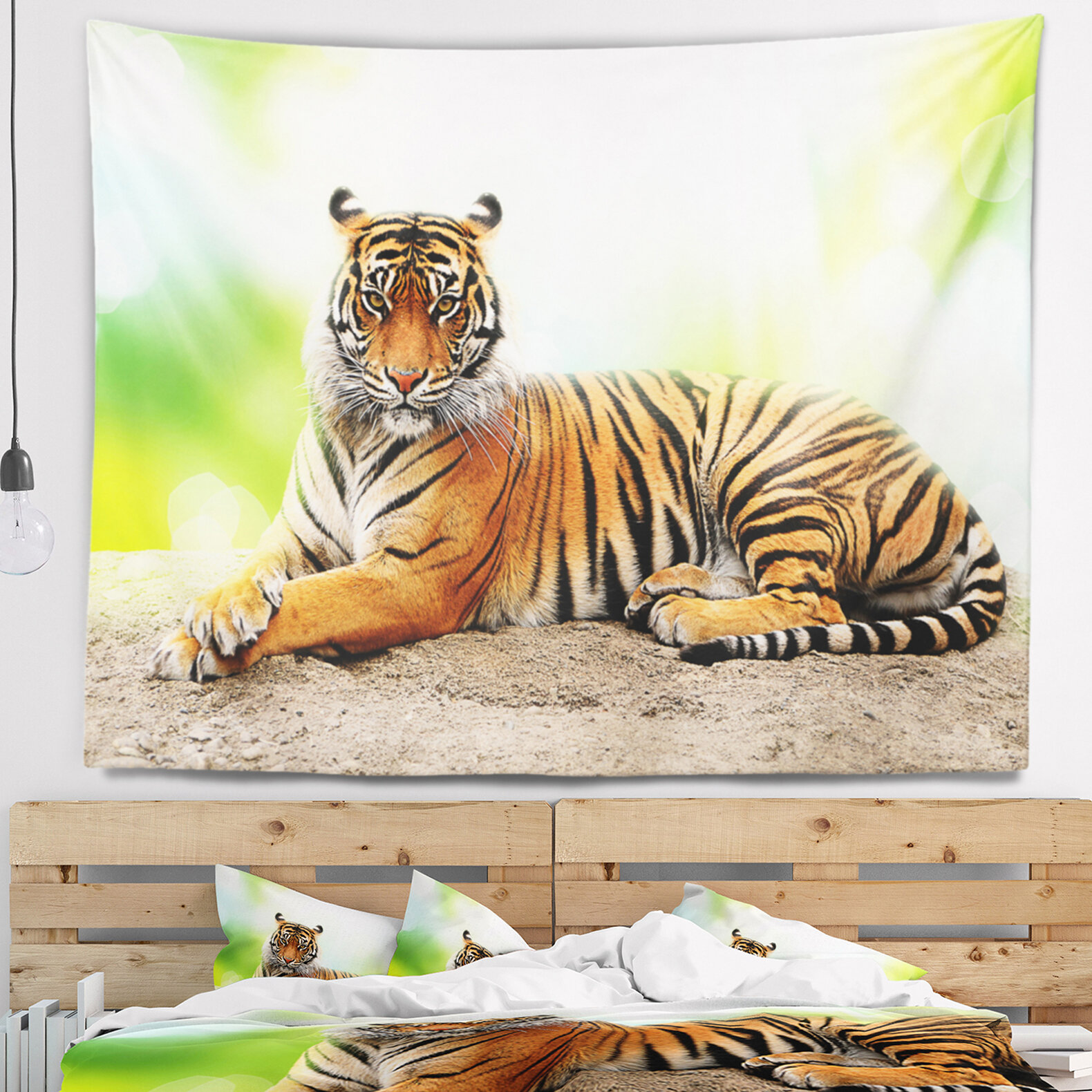 East Urban Home Animal Relaxing Tiger Tapestry And Wall Hanging Wayfair