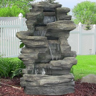 joey resin stacked shale fountain with lights - Garden Water Fountains