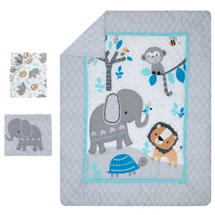 824553d45062 Jungle Fun Elephant Lion and Monkey Baby Nursery 3 Piece Crib Bedding Set