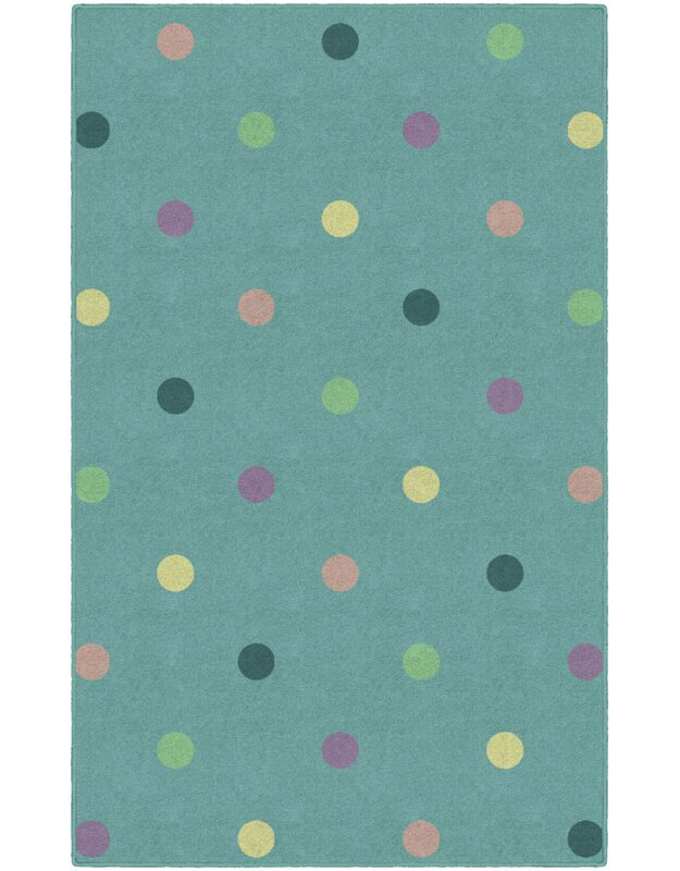 Ebern Designs Benedick Polka Dots Green Area Rug, Size: Rectangle 76 x 10