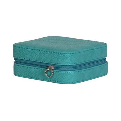 Winston Porter Faux Leather Jewelry Travel Case Color: Turquoise