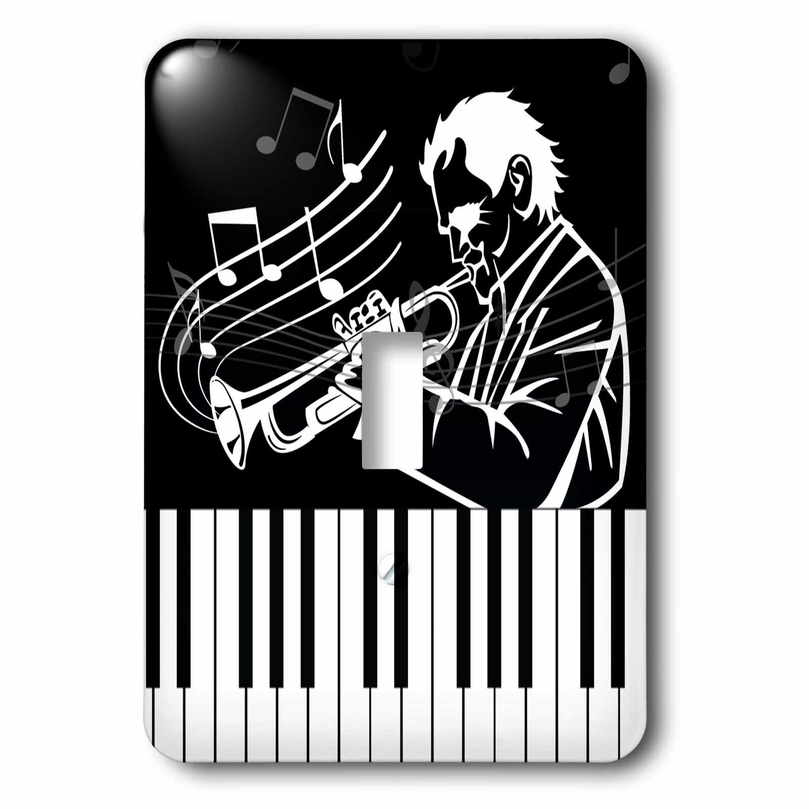 Jazz Musician Playing a Horn with Notes and Piano Keys Socket Plate