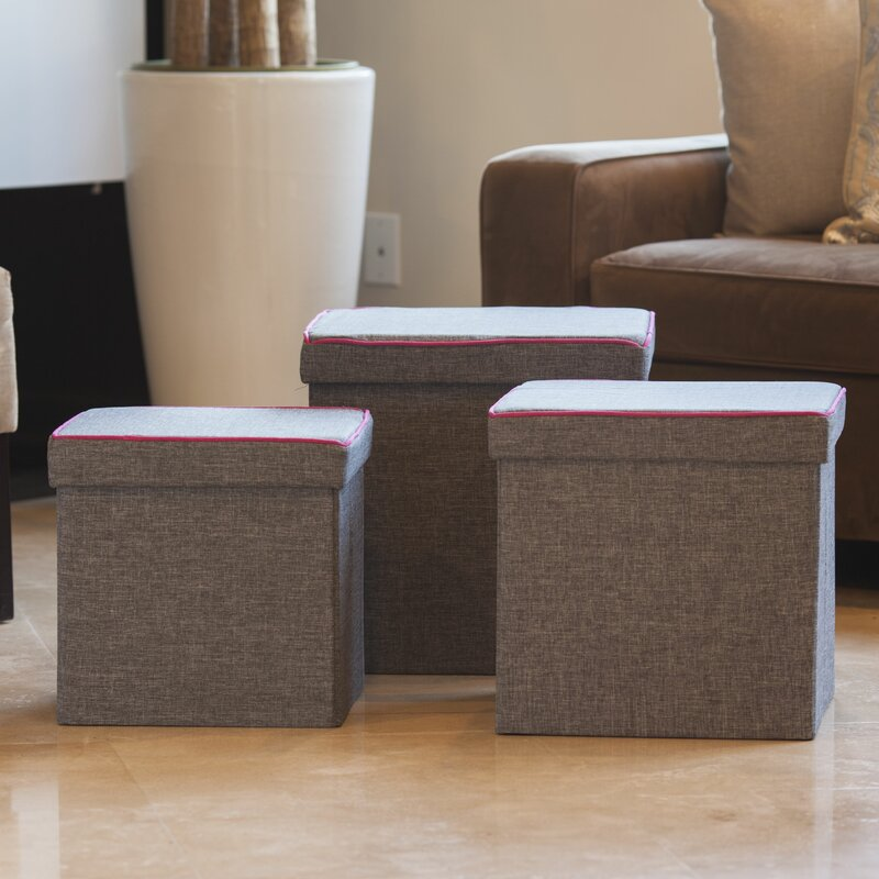 Charmant Marco 3 Piece Storage Ottoman Set