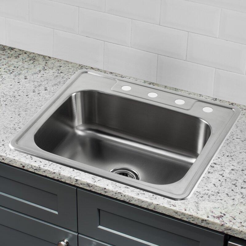 25   x 22   stainless steel drop in single bowl kitchen sink soleil 25   x 22   stainless steel drop in single bowl kitchen sink      rh   wayfair com