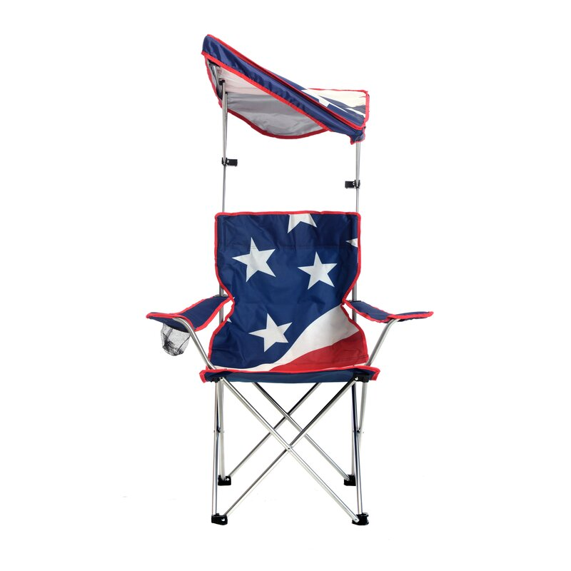 U S Flag Shade Folding Beach Chair
