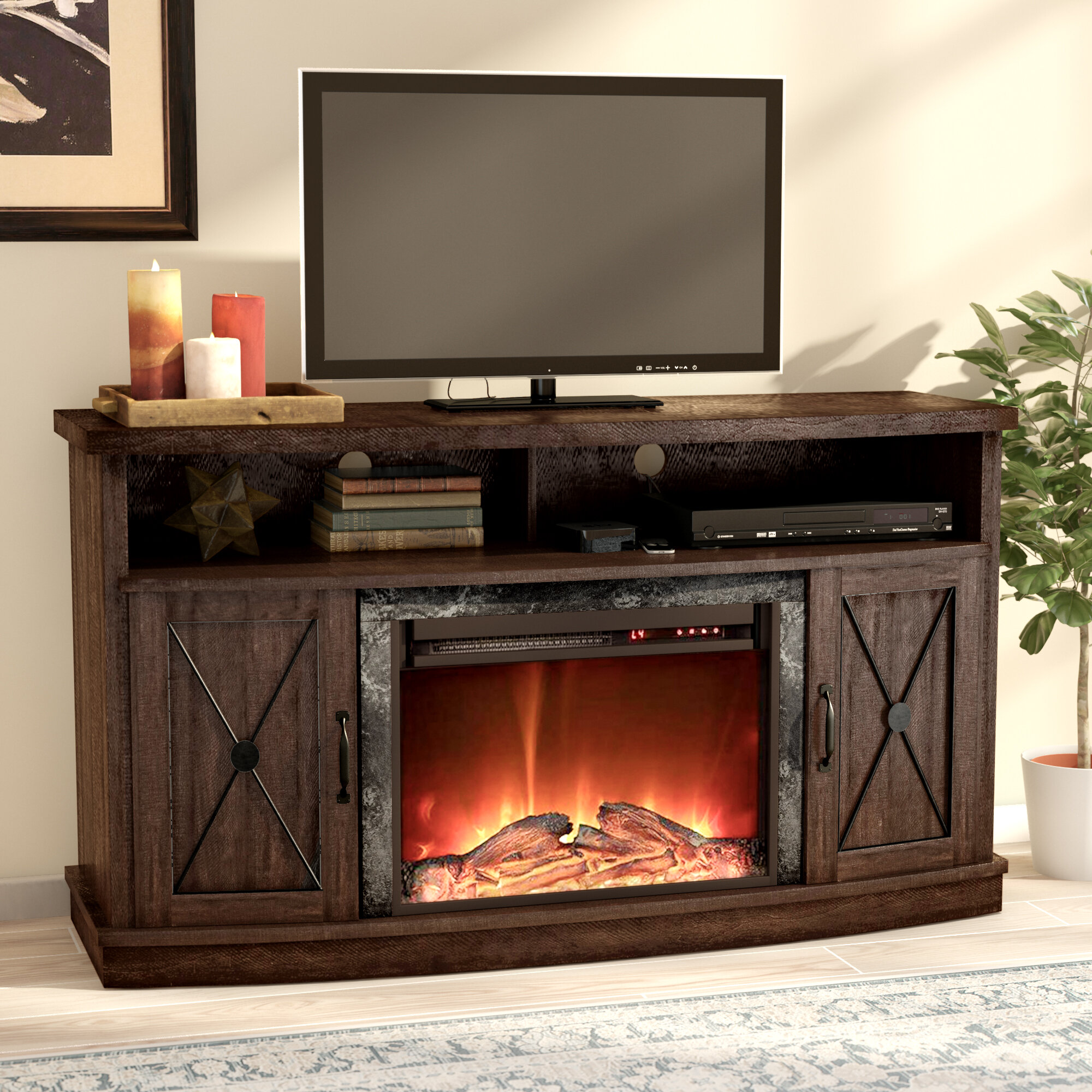 Darby Home Co Schuyler Tv Stand For Tvs Up To 60 With Electric Fireplace Reviews Wayfair