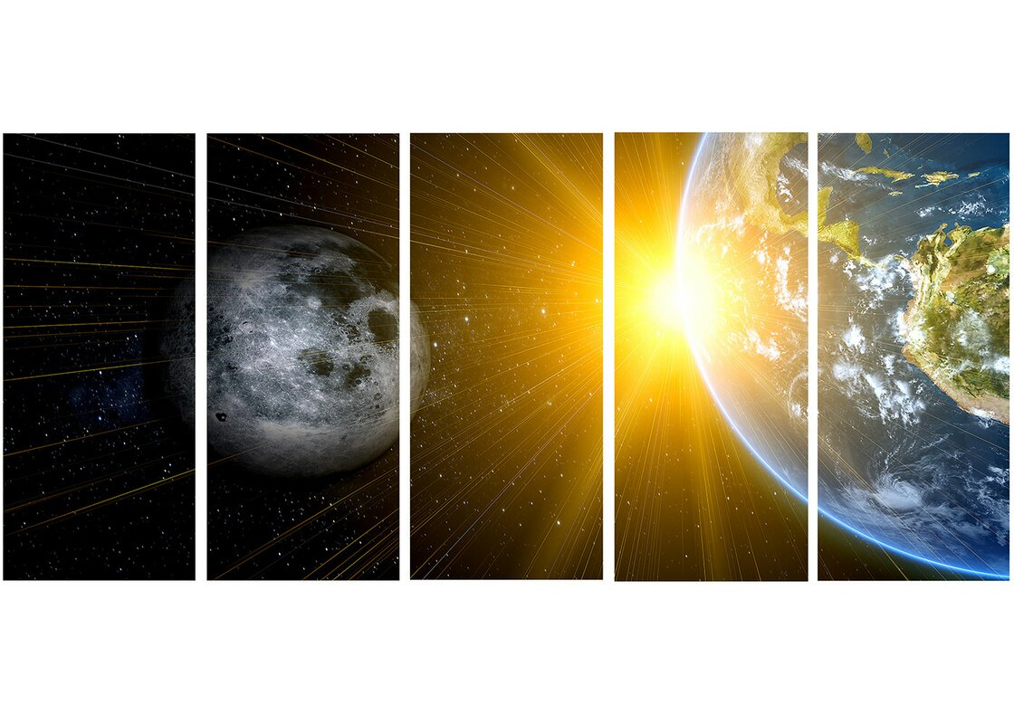 DesignArt Metal \'Sun Moon/Earth - Our Worlds\' 5 Piece Graphic Art ...