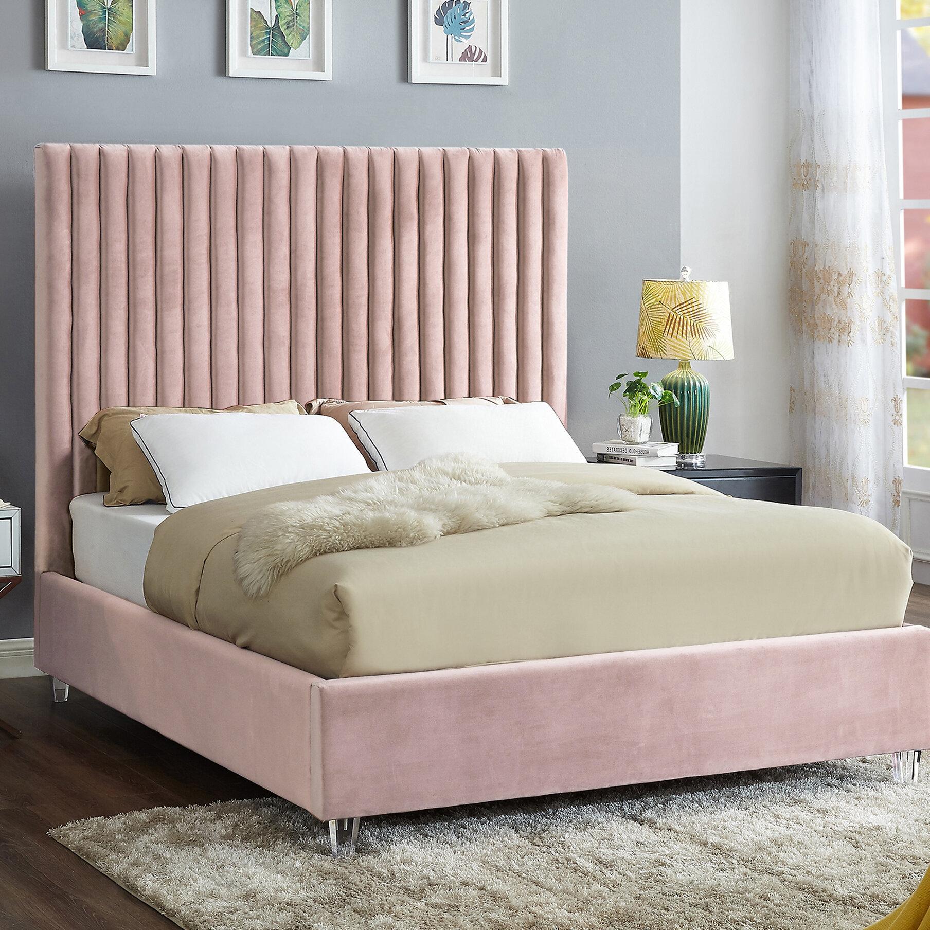Everly quinn fuiloro velvet upholstered platform bed reviews wayfair