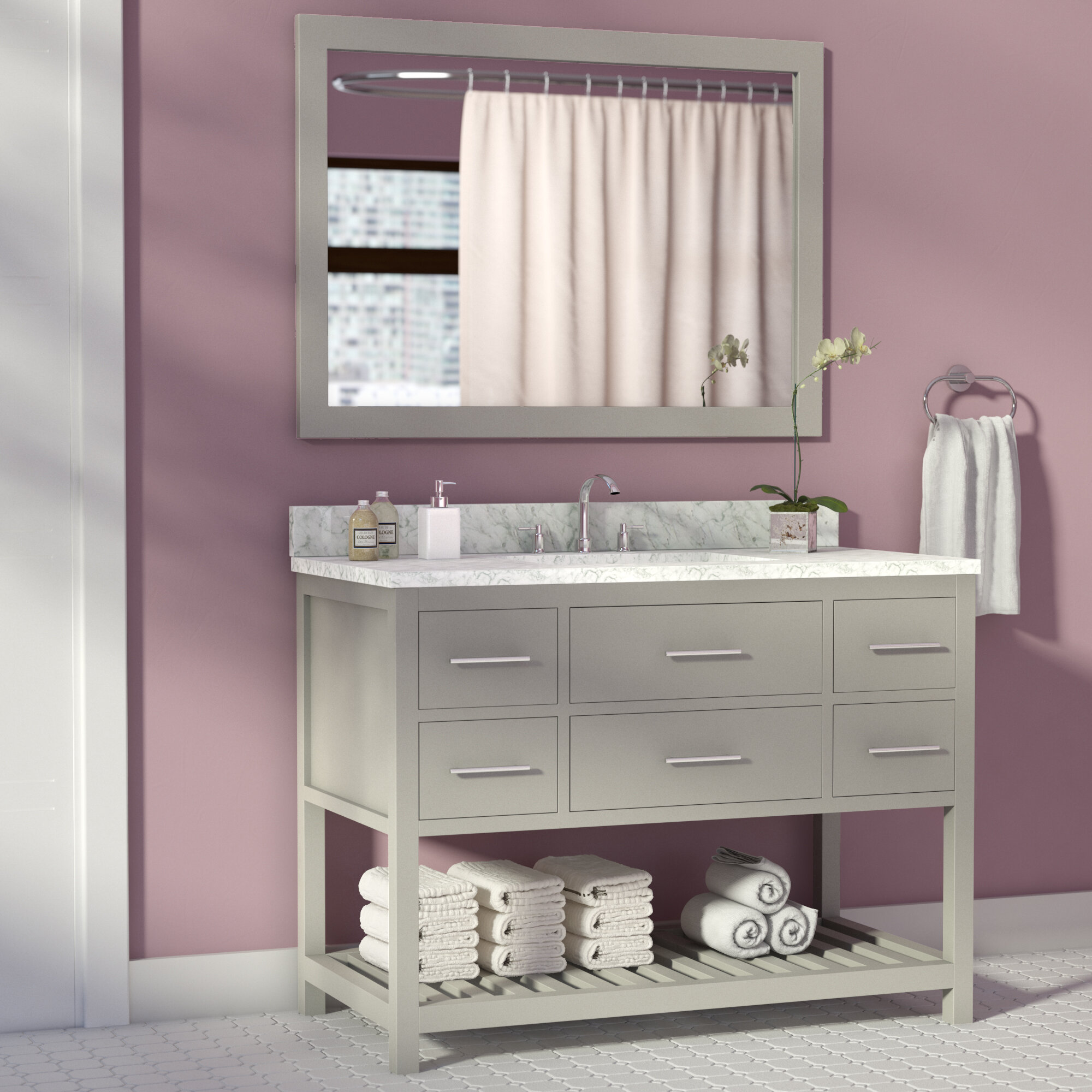 Willa Arlo Interiors Rizer 43 Single Bathroom Vanity With Mirror Reviews Wayfair