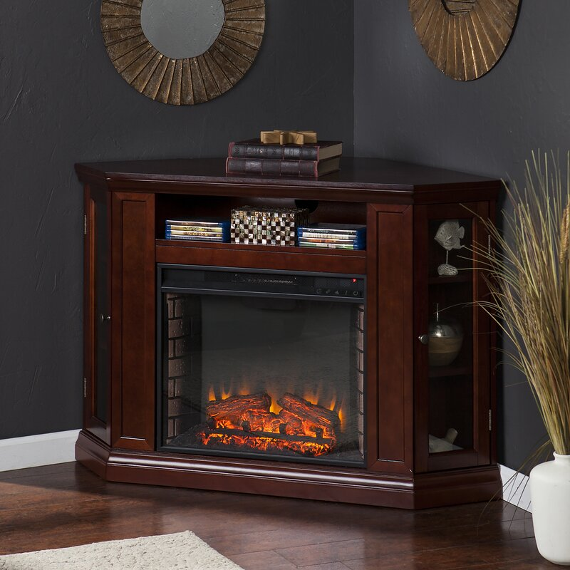 Alcott Hill Dunminning Corner TV Stand with Fireplace ...