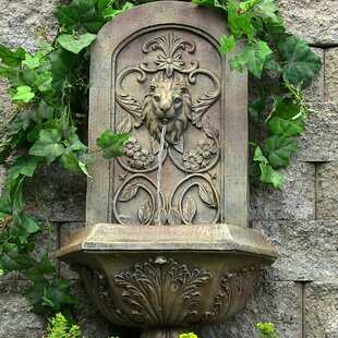 Dungan Polystone Decorative Lion Outdoor Wall Fountain