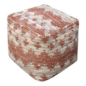 Cresley Leather Ottoman by Bungalow Rose