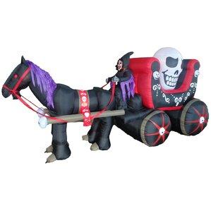 halloween inflatable carriage with huge skull indooroutdoor decoration