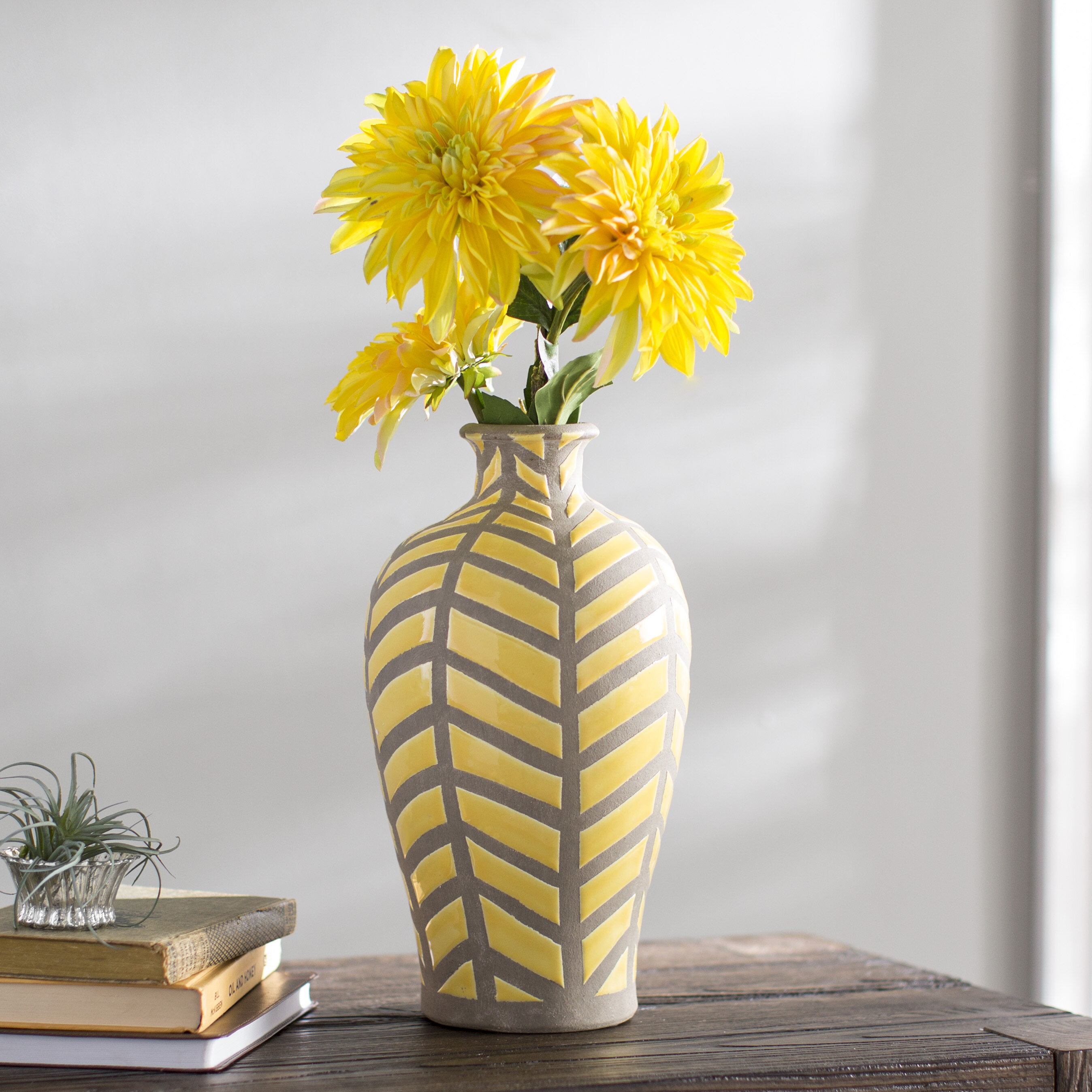Bungalow Rose Miranda Yellow/Gray Ceramic Table Vase & Reviews | Wayfair