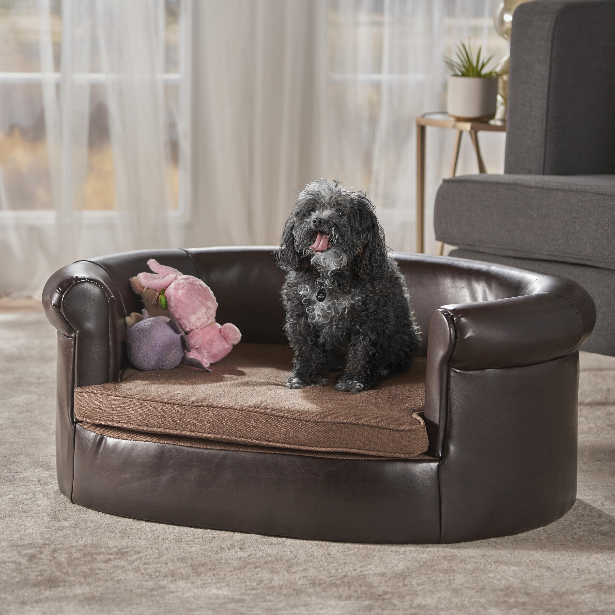 tucker murphy pet desmond leather dog sofa reviews wayfair rh wayfair com leather dog sofa bed leather sofa dog scratches