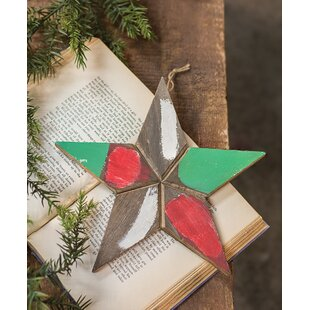 wooden painted christmas star shaped ornament