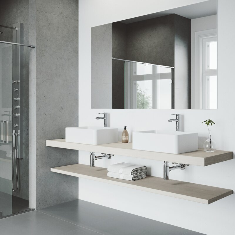 Vigo Matte Stone Rectangular Vessel Bathroom Sink With Faucet