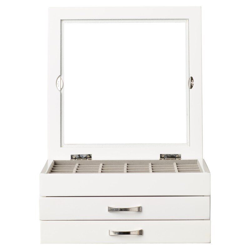 Wrought Studio Dupont Glass Top Jewelry Box in White Reviews
