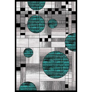 Elegant Mccampbell 3D Modern Contemporary Turquoise/Gray Area Rug