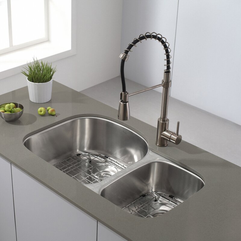 32   x 20   double basin undermount kitchen sink with noisedefend    soundproofing kraus 32   x 20   double basin undermount kitchen sink with      rh   wayfair com